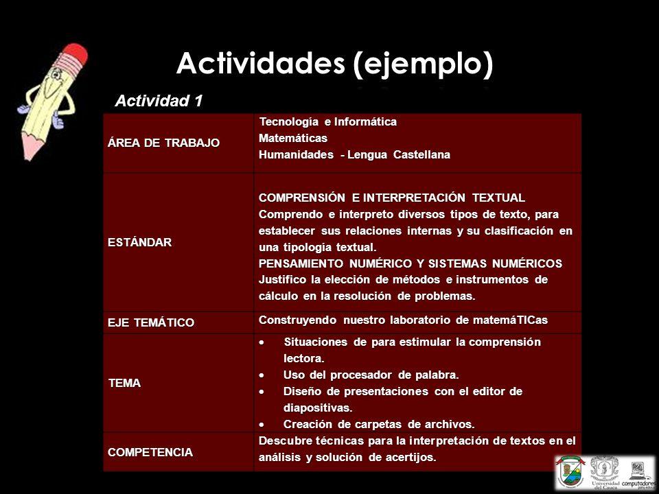 ÁREA DE TRABAJO Tecnología e Informática Matemáticas Humanidades - Lengua Castellana ESTÁNDAR COMPRENSIÓN E INTERPRETACIÓN TEXTUAL Comprendo e interpr