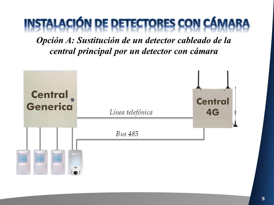 5 Opción A: Sustitución de un detector cableado de la central principal por un detector con cámara Línea telefónica Bus 485