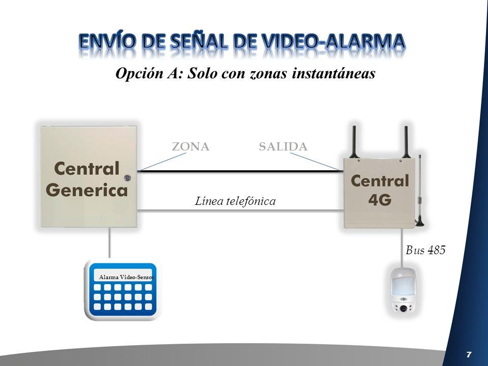 8 Opción B: Con zonas instantáneas y retardadas Bus 485 ZONA Retardada SALIDA Alarma ruta de entrada Línea telefónica Tiempo de ruta de entrada Alarma Video-sensor Alarma Video-Sensor ZONA Instantánea SALIDA Activada por ruta de E/S