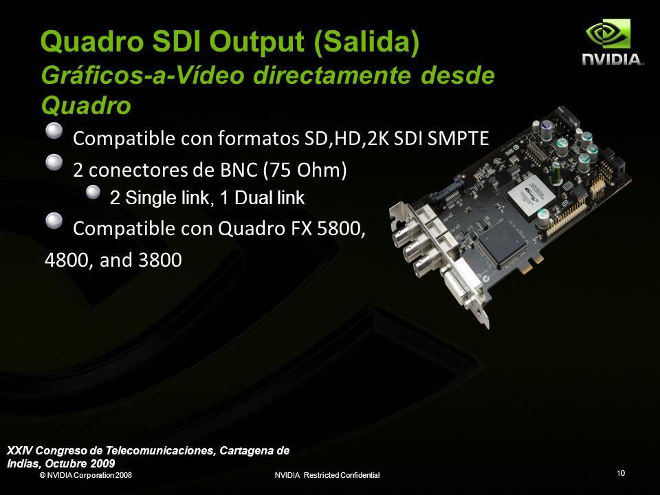 © NVIDIA Corporation 2008NVIDIA Restricted Confidential 10 Quadro SDI Output (Salida) Gráficos-a-Vídeo directamente desde Quadro Compatible con format