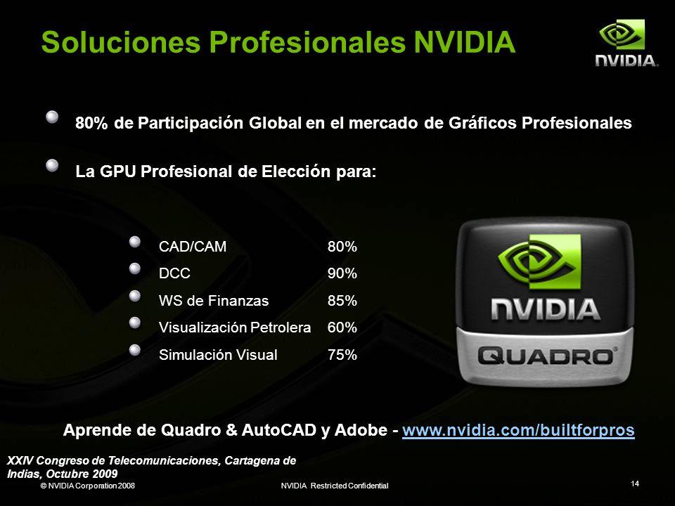 © NVIDIA Corporation 2008NVIDIA Restricted Confidential 14 Soluciones Profesionales NVIDIA 80% de Participación Global en el mercado de Gráficos Profe
