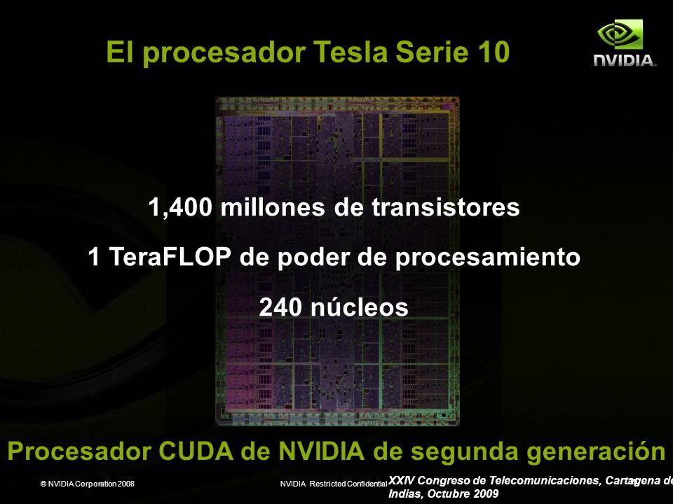 © NVIDIA Corporation 2008NVIDIA Restricted Confidential 19 1,400 millones de transistores 1 TeraFLOP de poder de procesamiento 240 núcleos El procesad