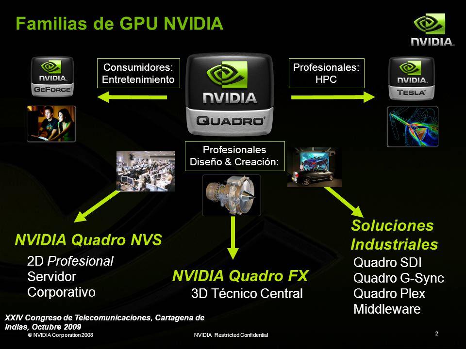 © NVIDIA Corporation 2008NVIDIA Restricted Confidential 2 Familias de GPU NVIDIA 3D Técnico Central 2D Profesional Servidor Corporativo Quadro SDI Qua