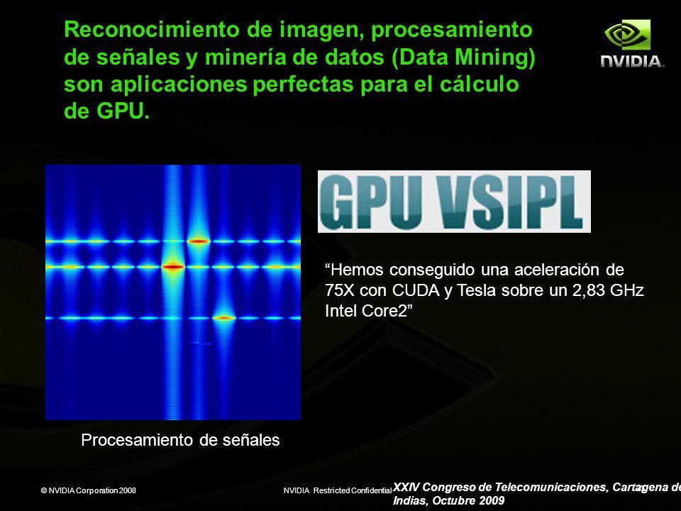 © NVIDIA Corporation 2008NVIDIA Restricted Confidential 23 Reconocimiento de imagen, procesamiento de señales y minería de datos (Data Mining) son apl