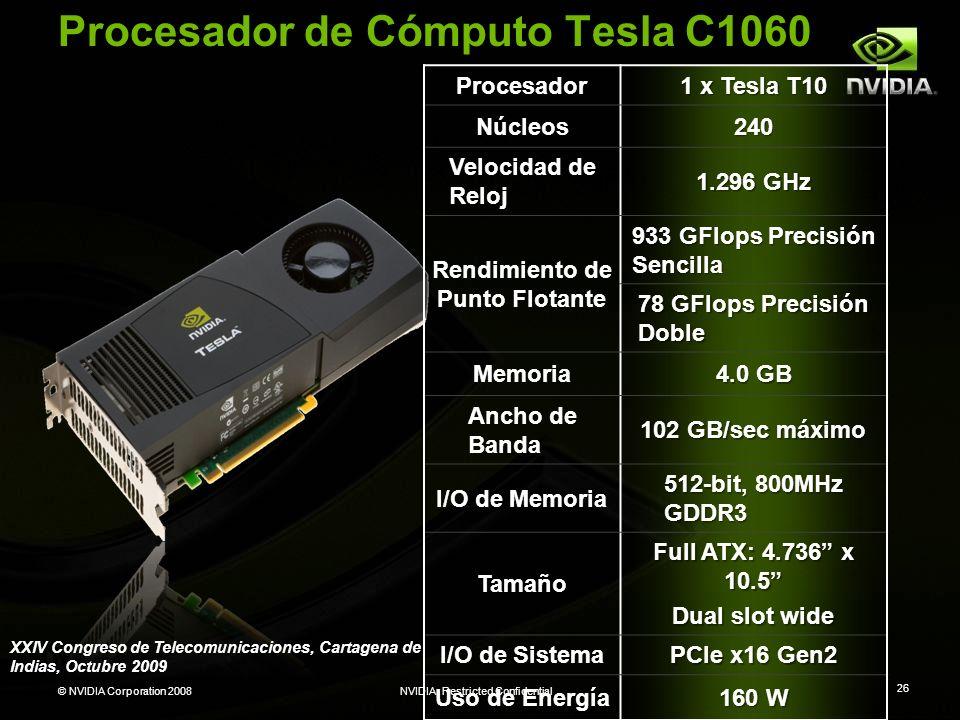 © NVIDIA Corporation 2008NVIDIA Restricted Confidential 26 Procesador 1 x Tesla T10 Núcleos240 Velocidad de Reloj 1.296 GHz Rendimiento de Punto Flota