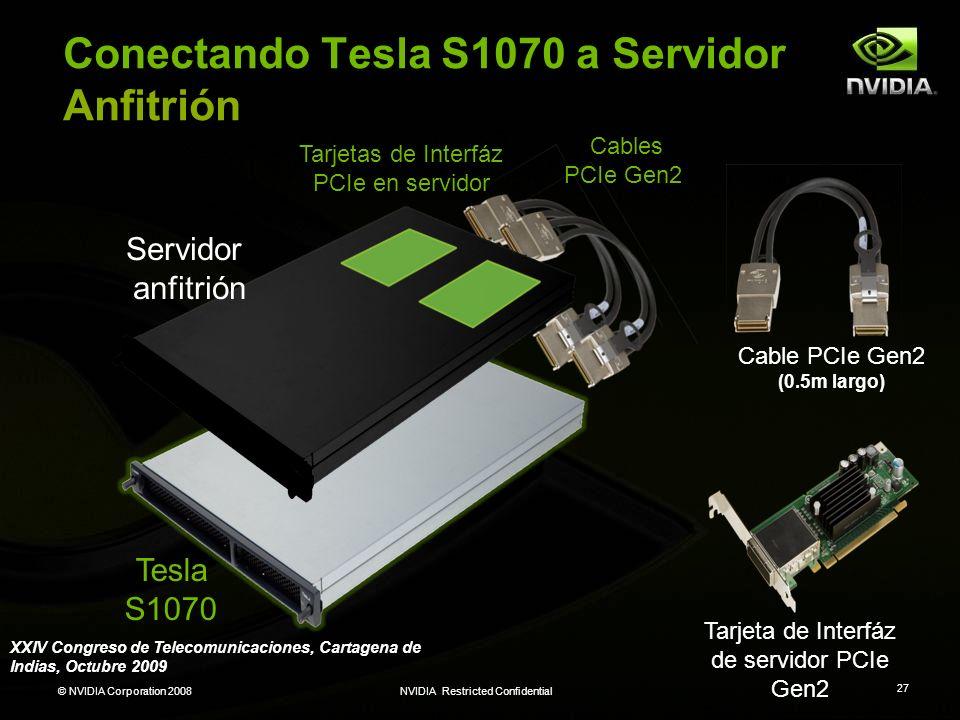 © NVIDIA Corporation 2008NVIDIA Restricted Confidential 27 Tesla S1070 Servidor anfitrión Tarjetas de Interfáz PCIe en servidor Cables PCIe Gen2 Tarje