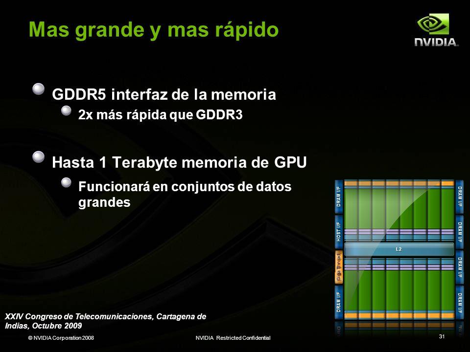 © NVIDIA Corporation 2008NVIDIA Restricted Confidential 31 Mas grande y mas rápido GDDR5 interfaz de la memoria 2x más rápida que GDDR3 Hasta 1 Teraby