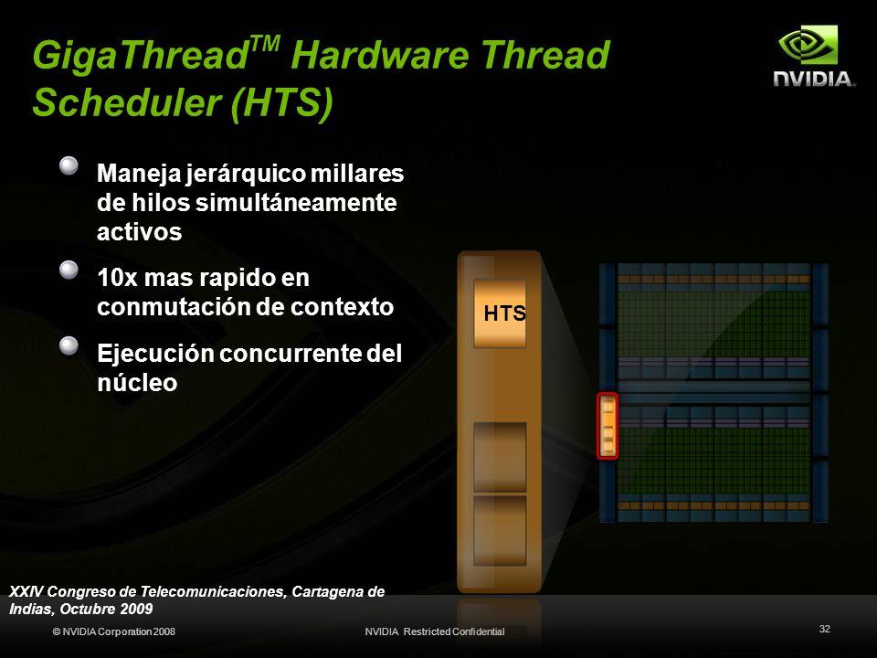© NVIDIA Corporation 2008NVIDIA Restricted Confidential 32 GigaThread TM Hardware Thread Scheduler (HTS) Maneja jerárquico millares de hilos simultáne