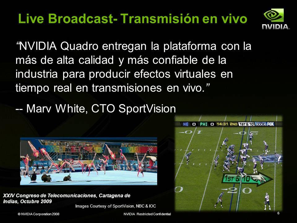 © NVIDIA Corporation 2008NVIDIA Restricted Confidential 6 Live Broadcast- Transmisión en vivo Images Courtesy of SportVision, NBC & IOC NVIDIA Quadro