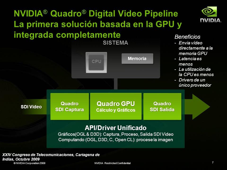 © NVIDIA Corporation 2008NVIDIA Restricted Confidential 7 NVIDIA ® Quadro ® Digital Video Pipeline La primera solución basada en la GPU y integrada co
