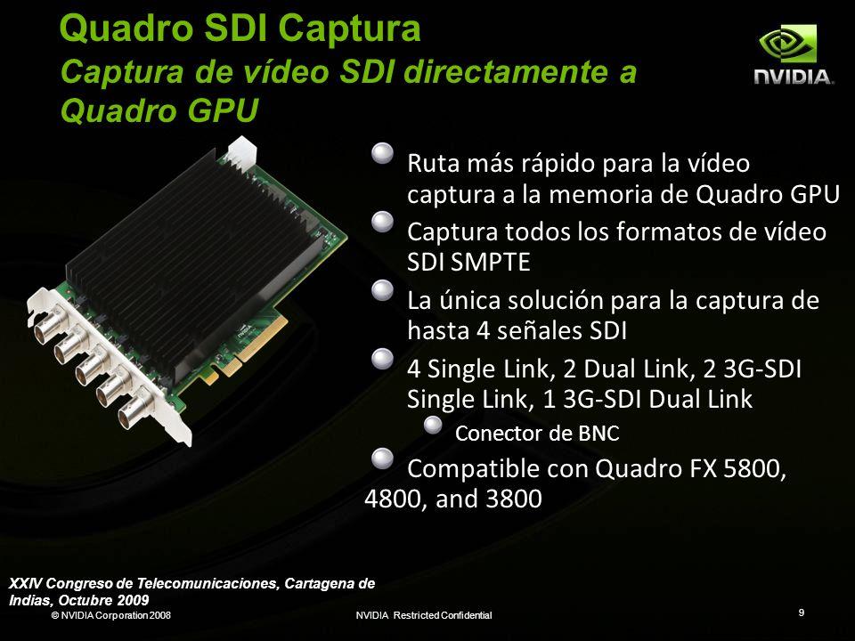 © NVIDIA Corporation 2008NVIDIA Restricted Confidential 30 Arquitectura Fermi El alma de un Supercomputer en un cuerpo de un GPU 3 mil millones transistores Sobre 2x los corazones (núcleos) (512 totales) Funcionamiento 8x mas con doble precision ECC L1 and L2 Caches Anchura de banda de la memoria ~2x (GDDR5) Hasta 1 Terabyte memoria de GPU Núcleos (Kernels) concurrentes de la memoria de GPU, C++ DRAM I/F HOST I/F Giga Thread DRAM I/F L2 XXIV Congreso de Telecomunicaciones, Cartagena de Indias, Octubre 2009