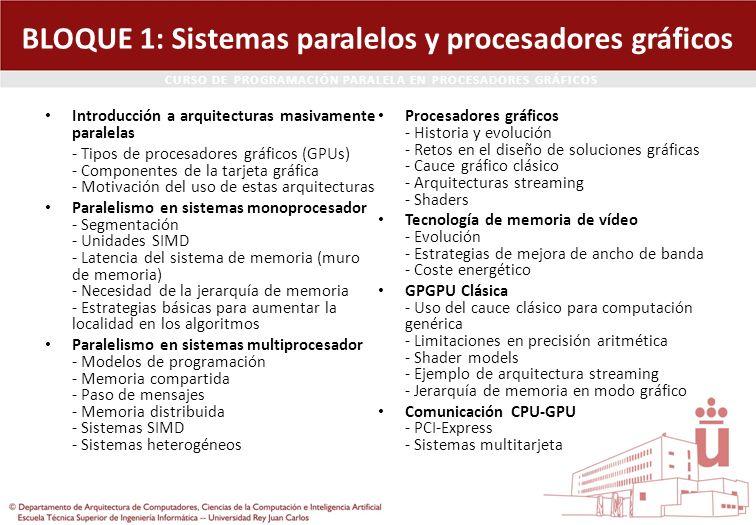 CURSO DE PROGRAMACIÓN PARALELA EN PROCESADORES GRÁFICOS BLOQUE 1: Sistemas paralelos y procesadores gráficos Introducción a arquitecturas masivamente