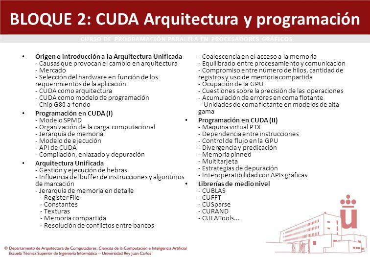 CURSO DE PROGRAMACIÓN PARALELA EN PROCESADORES GRÁFICOS BLOQUE 2: CUDA Arquitectura y programación Origen e introducción a la Arquitectura Unificada -