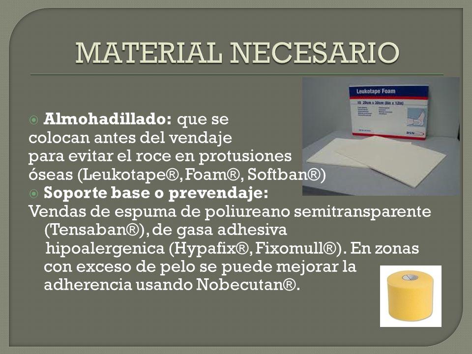 Almohadillado: que se colocan antes del vendaje para evitar el roce en protusiones óseas (Leukotape®, Foam®, Softban®) Soporte base o prevendaje: Vend