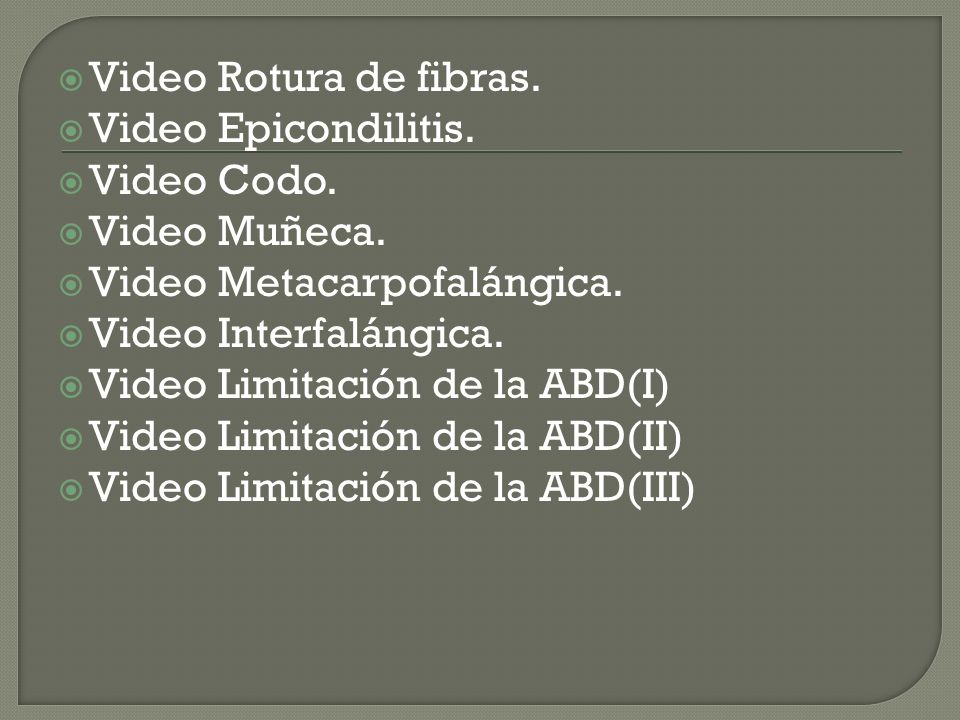 Video Rotura de fibras.Video Epicondilitis. Video Codo.