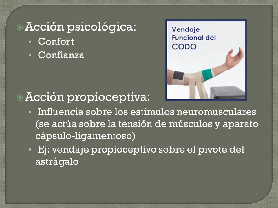 Acción psicológica: Confort Confianza Acción propioceptiva: Influencia sobre los estímulos neuromusculares (se actúa sobre la tensión de músculos y ap