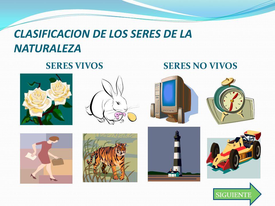 CLASIFICACION DE LOS SERES DE LA NATURALEZA SERES VIVOS SERES NO VIVOS SIGUIENTE