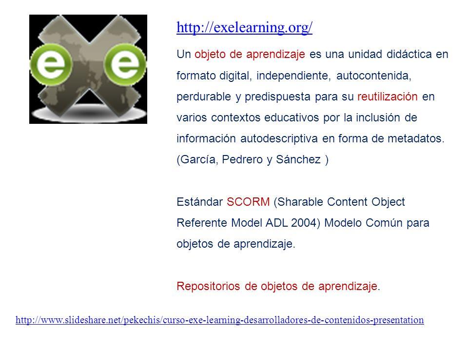 http://exelearning.org/ http://www.slideshare.net/pekechis/curso-exe-learning-desarrolladores-de-contenidos-presentation Un objeto de aprendizaje es una unidad didáctica en formato digital, independiente, autocontenida, perdurable y predispuesta para su reutilización en varios contextos educativos por la inclusión de información autodescriptiva en forma de metadatos.