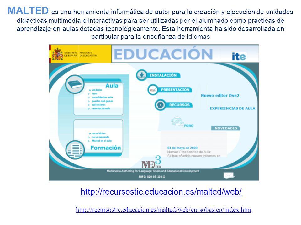 MALTED es una herramienta informática de autor para la creación y ejecución de unidades didácticas multimedia e interactivas para ser utilizadas por el alumnado como prácticas de aprendizaje en aulas dotadas tecnológicamente.