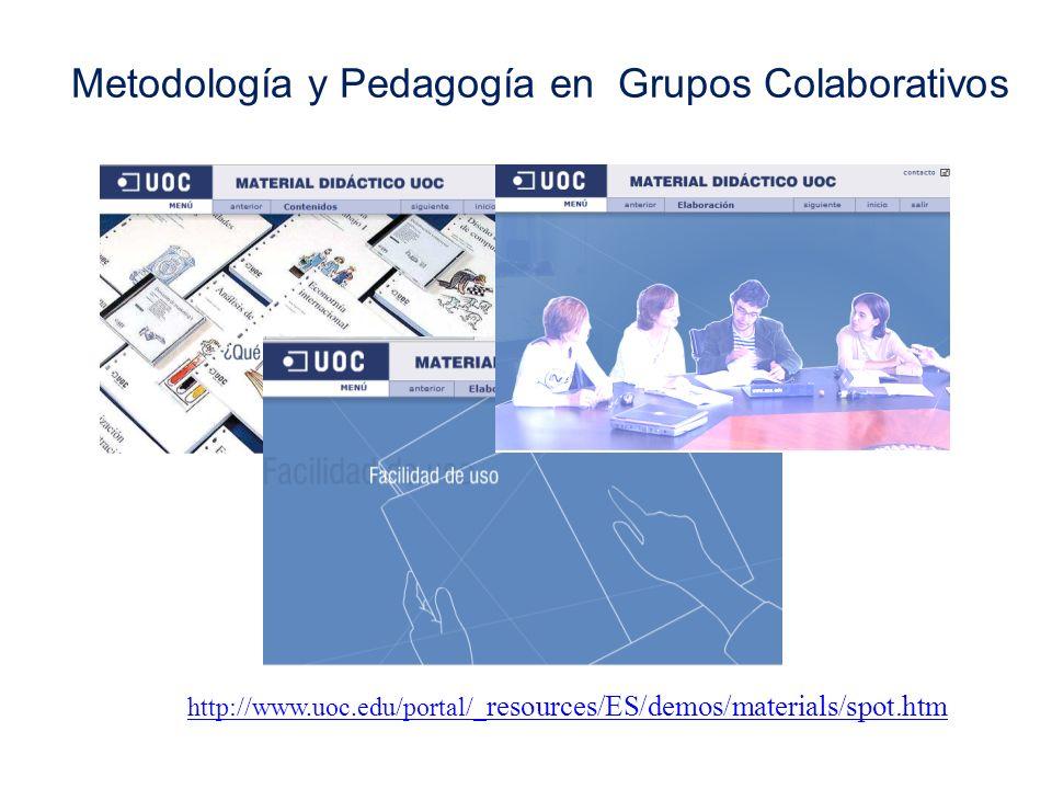 Metodología y Pedagogía en Grupos Colaborativos http://www.uoc.edu/portal/_ resources/ES/demos/materials/spot.htm