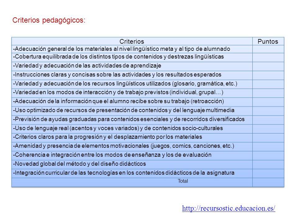 Criterios pedagógicos: http://recursostic.educacion.es/