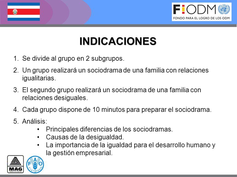 INDICACIONES 1.Se divide al grupo en 2 subgrupos. 2.Un grupo realizará un sociodrama de una familia con relaciones igualitarias. 3.El segundo grupo re