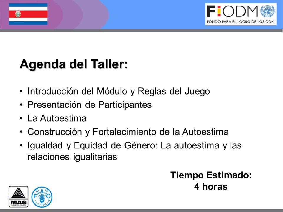 Agenda del Taller: Tiempo Estimado: 4 horas Introducción del Módulo y Reglas del Juego Presentación de Participantes La Autoestima Construcción y Fort