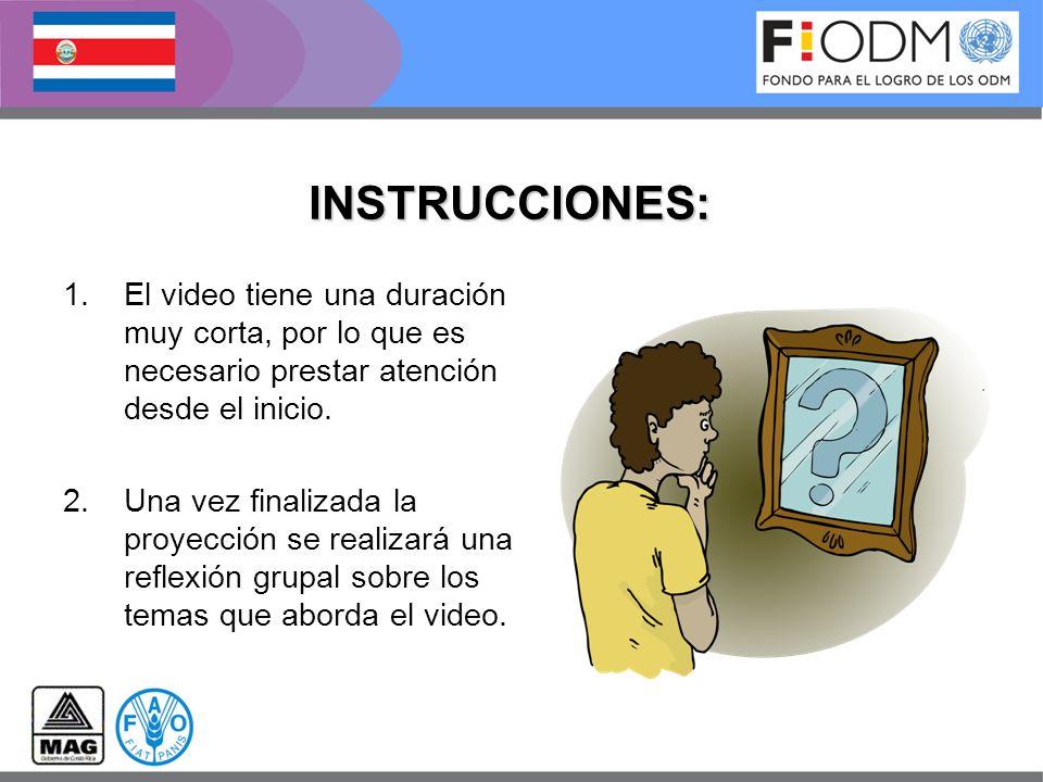 INSTRUCCIONES: 1.El video tiene una duración muy corta, por lo que es necesario prestar atención desde el inicio. 2.Una vez finalizada la proyección s