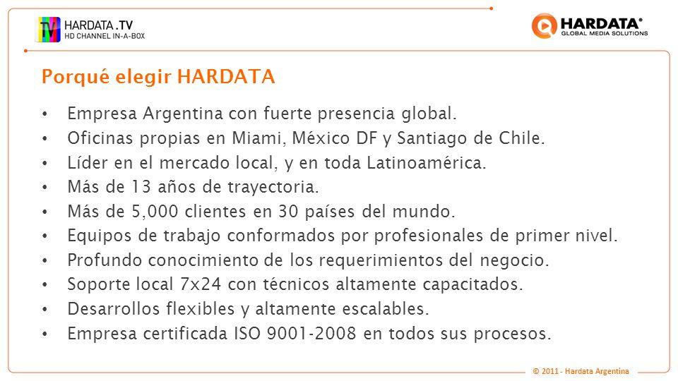 www.hardata.com Empresa Argentina con fuerte presencia global. Oficinas propias en Miami, México DF y Santiago de Chile. Líder en el mercado local, y