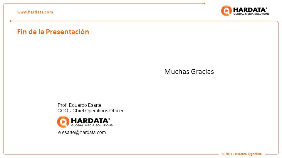 www.hardata.com Fin de la Presentación Muchas Gracias Prof. Eduardo Esarte COO - Chief Operations Officer e.esarte@hardata.com © 2011 - Hardata Argent