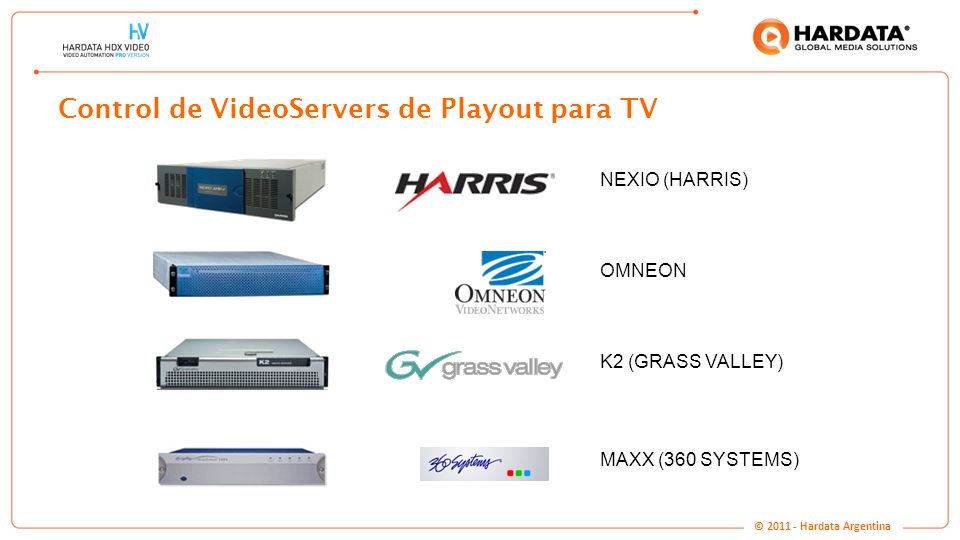 www.hardata.com Control de VideoServers de Playout para TV NEXIO (HARRIS) OMNEON K2 (GRASS VALLEY) MAXX (360 SYSTEMS) © 2011 - Hardata Argentina