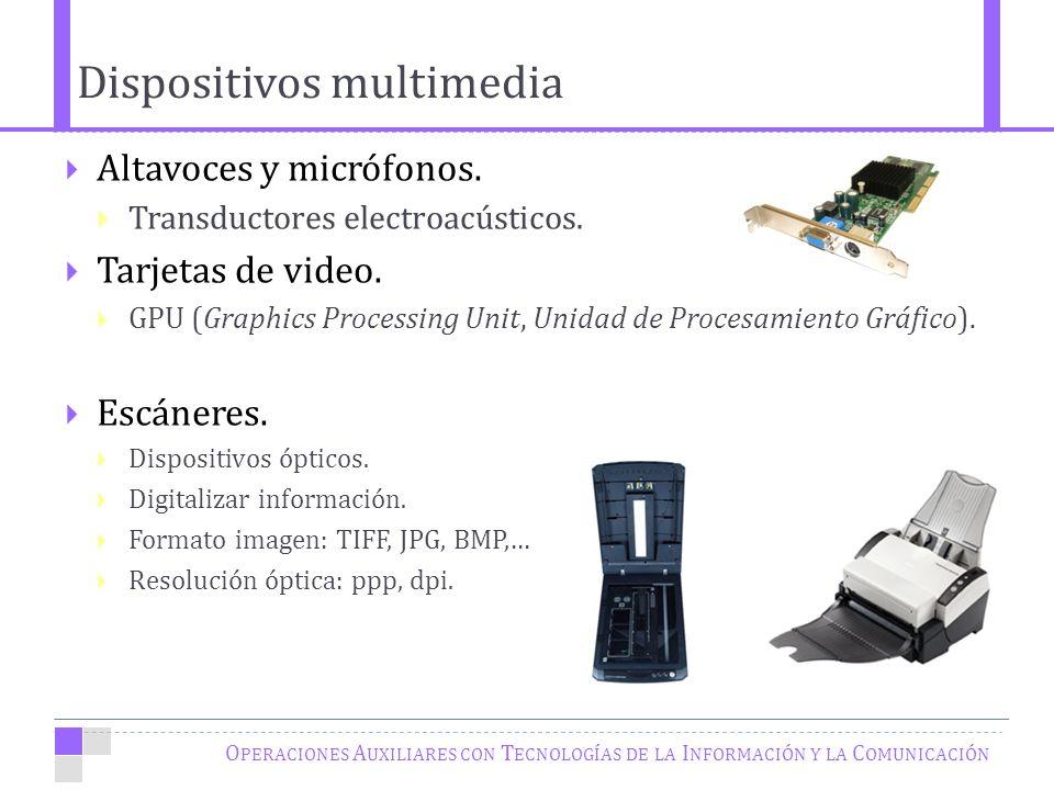 O PERACIONES A UXILIARES CON T ECNOLOGÍAS DE LA I NFORMACIÓN Y LA C OMUNICACIÓN Altavoces y micrófonos.
