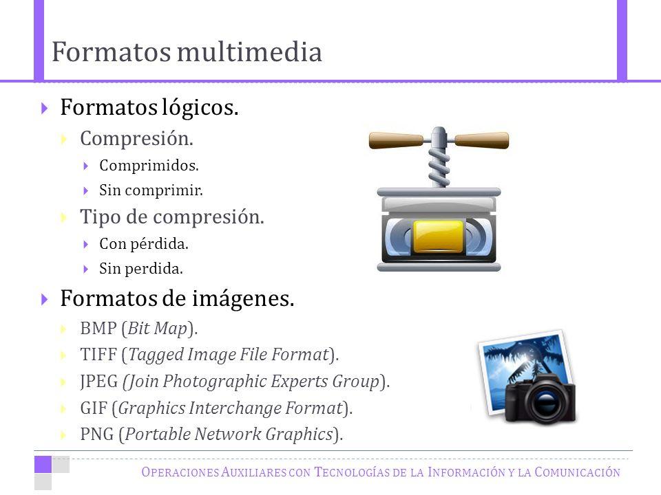 Formatos multimedia O PERACIONES A UXILIARES CON T ECNOLOGÍAS DE LA I NFORMACIÓN Y LA C OMUNICACIÓN Formatos lógicos.