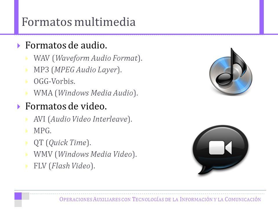 Formatos multimedia O PERACIONES A UXILIARES CON T ECNOLOGÍAS DE LA I NFORMACIÓN Y LA C OMUNICACIÓN Formatos de audio.
