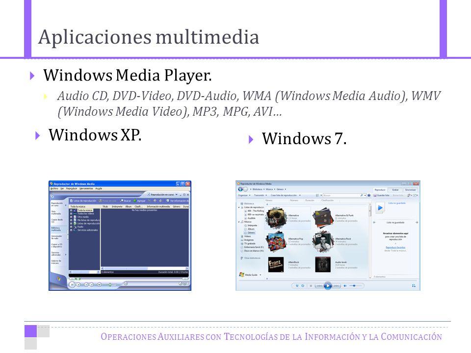 O PERACIONES A UXILIARES CON T ECNOLOGÍAS DE LA I NFORMACIÓN Y LA C OMUNICACIÓN Windows Media Player.