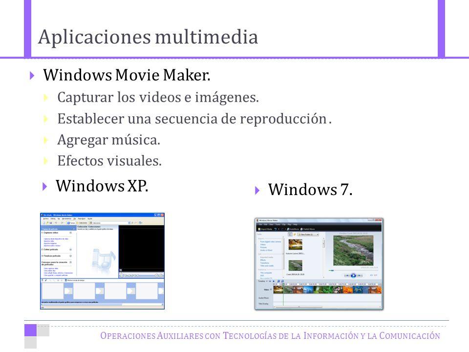O PERACIONES A UXILIARES CON T ECNOLOGÍAS DE LA I NFORMACIÓN Y LA C OMUNICACIÓN Windows Movie Maker.