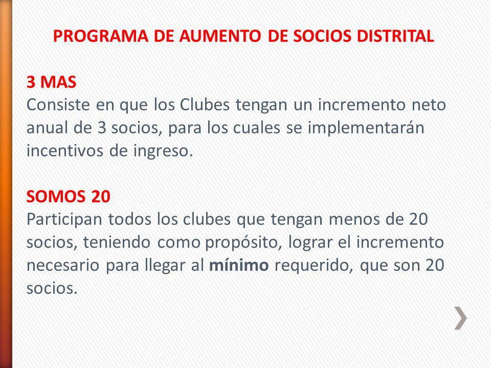 PROGRAMA DE AUMENTO DE SOCIOS DISTRITAL 3 MAS Consiste en que los Clubes tengan un incremento neto anual de 3 socios, para los cuales se implementarán