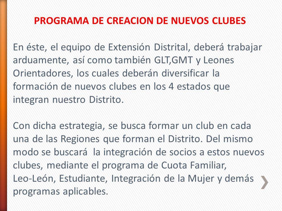 PROGRAMA DE CREACION DE NUEVOS CLUBES En éste, el equipo de Extensión Distrital, deberá trabajar arduamente, así como también GLT,GMT y Leones Orienta