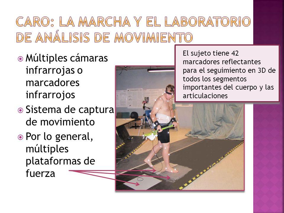 Múltiples cámaras infrarrojas o marcadores infrarrojos Sistema de captura de movimiento Por lo general, múltiples plataformas de fuerza El sujeto tien