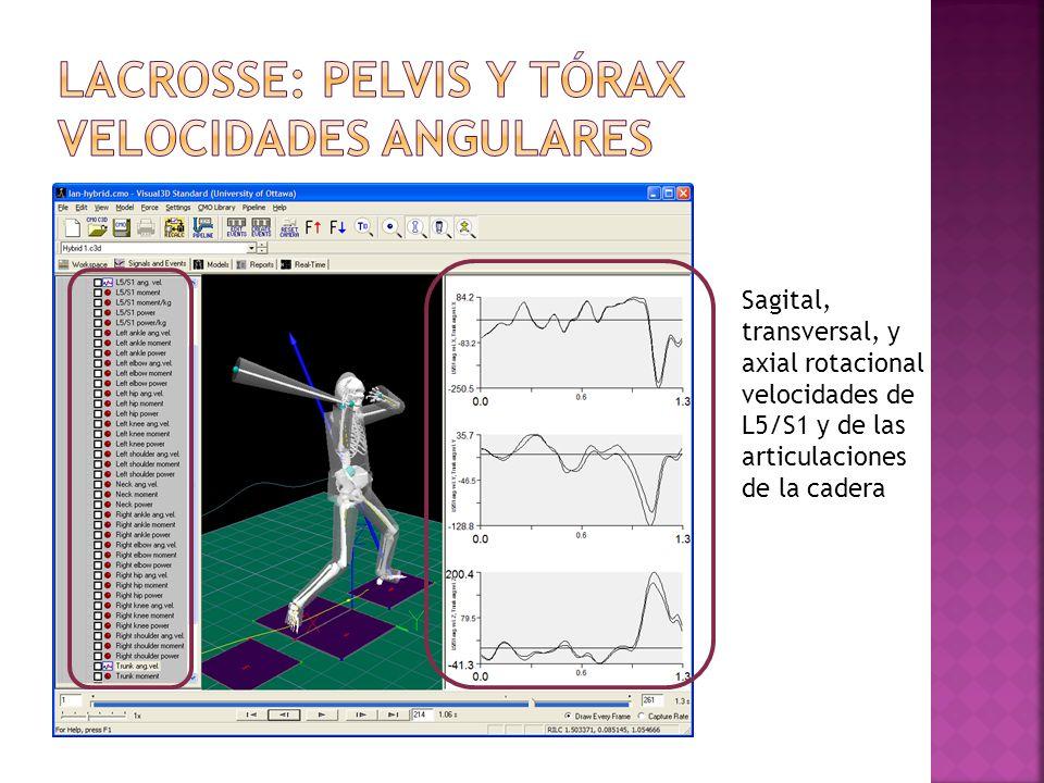 Sagital, transversal, y axial rotacional velocidades de L5/S1 y de las articulaciones de la cadera