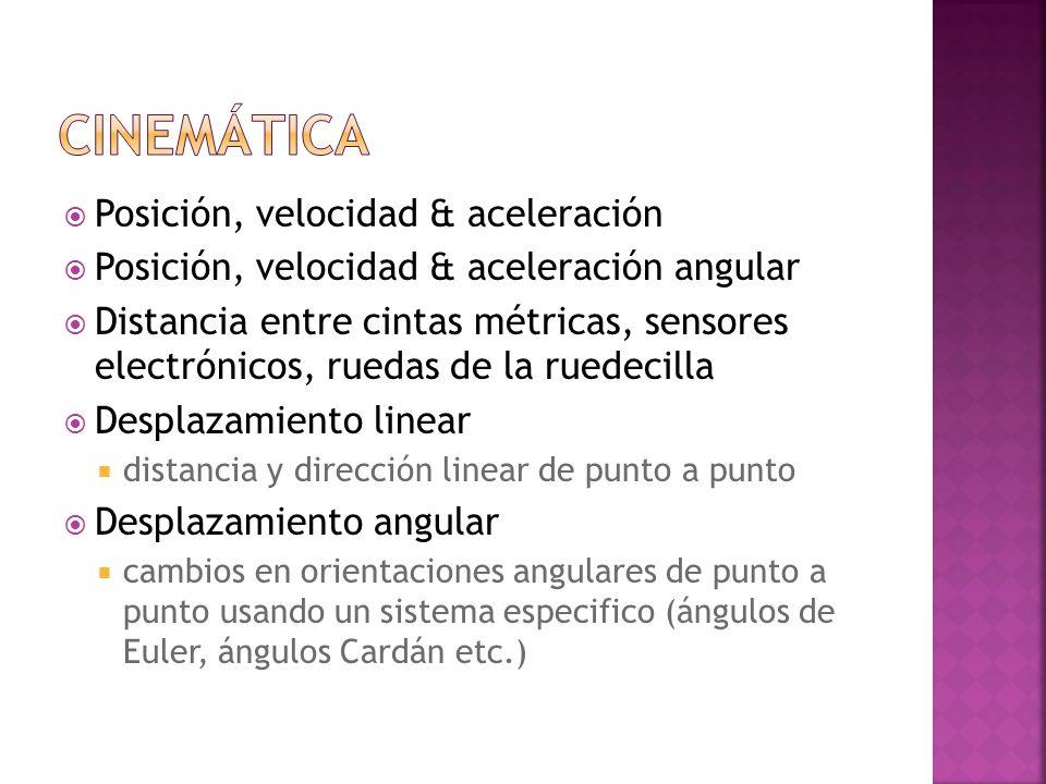 Posición, velocidad & aceleración Posición, velocidad & aceleración angular Distancia entre cintas métricas, sensores electrónicos, ruedas de la ruede