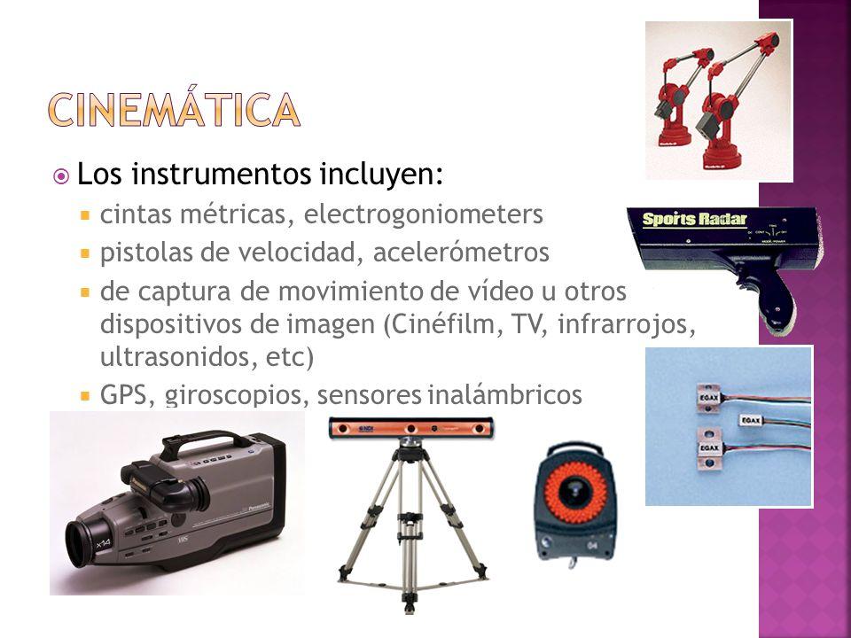 Los instrumentos incluyen: cintas métricas, electrogoniometers pistolas de velocidad, acelerómetros de captura de movimiento de vídeo u otros disposit