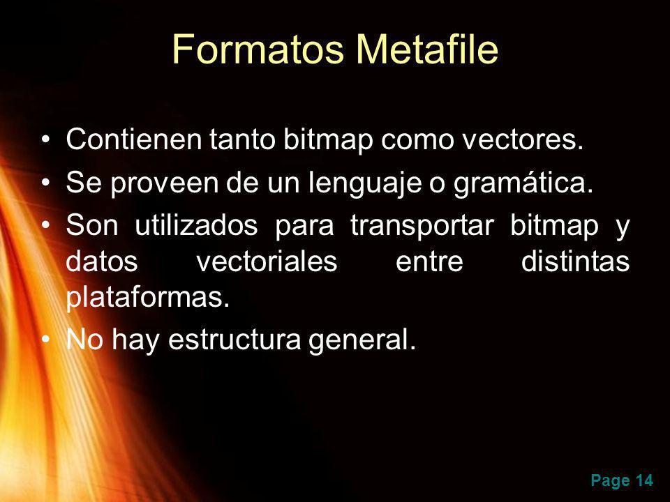 Page 14 Formatos Metafile Contienen tanto bitmap como vectores. Se proveen de un lenguaje o gramática. Son utilizados para transportar bitmap y datos