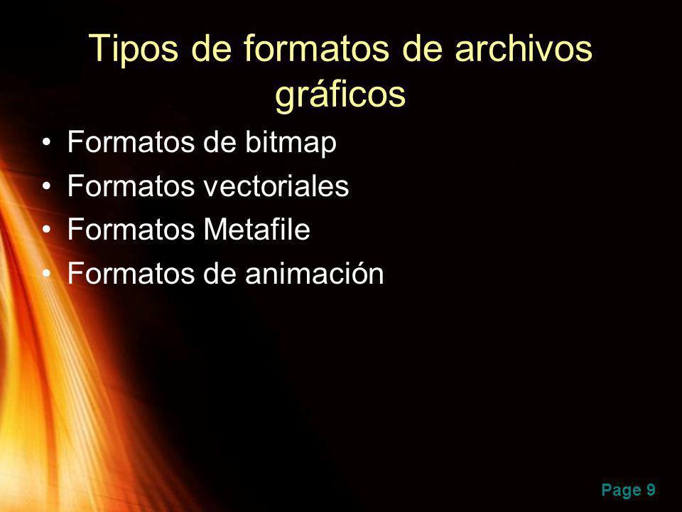 Page 9 Tipos de formatos de archivos gráficos Formatos de bitmap Formatos vectoriales Formatos Metafile Formatos de animación