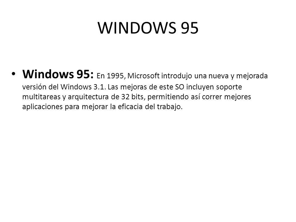 WINDOWS 95 Windows 95: En 1995, Microsoft introdujo una nueva y mejorada versión del Windows 3.1. Las mejoras de este SO incluyen soporte multitareas