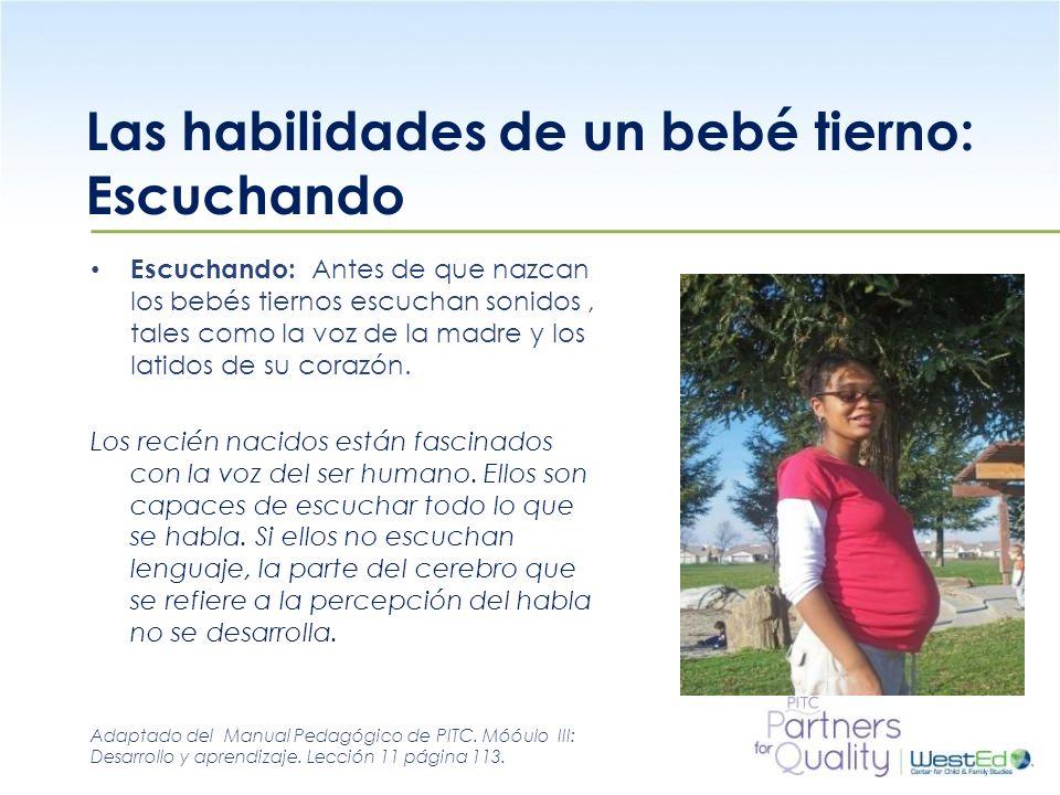 WestEd.org Las habilidades de un bebé tierno: Escuchando Escuchando: Antes de que nazcan los bebés tiernos escuchan sonidos, tales como la voz de la m