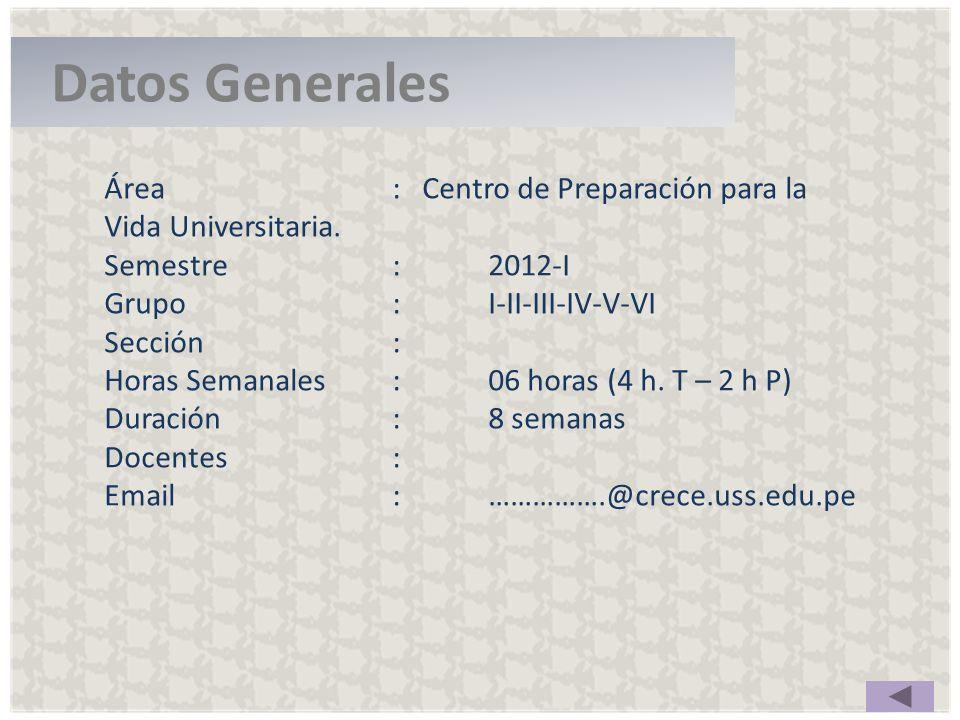 Área: Centro de Preparación para la Vida Universitaria. Semestre : 2012-I Grupo:I-II-III-IV-V-VI Sección: Horas Semanales :06 horas (4 h. T – 2 h P) D
