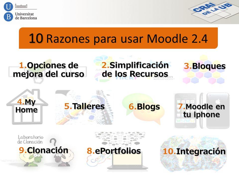 10 10 Razones para usar Moodle 2.4 Opciones de mejora del curso 1.Opciones de mejora del curso Simplificación de los Recursos 2.Simplificación de los