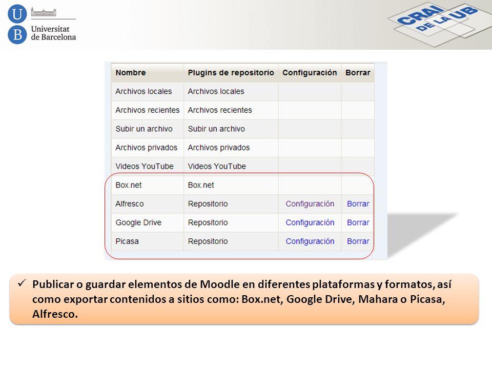 Publicar o guardar elementos de Moodle en diferentes plataformas y formatos, así como exportar contenidos a sitios como: Box.net, Google Drive, Mahara