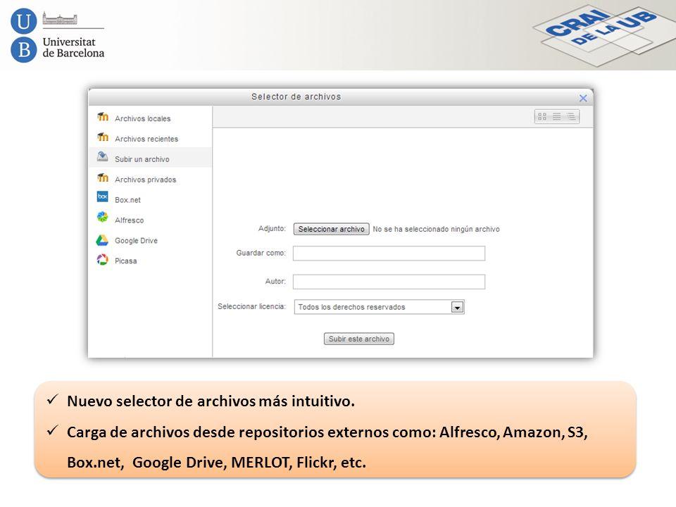 Nuevo selector de archivos más intuitivo. Carga de archivos desde repositorios externos como: Alfresco, Amazon, S3, Box.net, Google Drive, MERLOT, Fli
